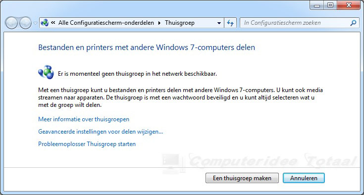 Thuisgroep in Windows 7 instellen