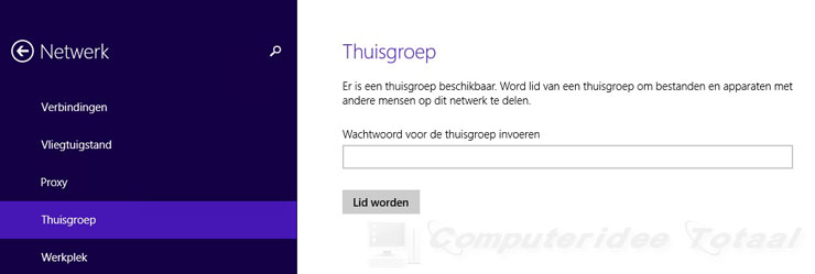 Thuisgroep in Windows 8 instellen